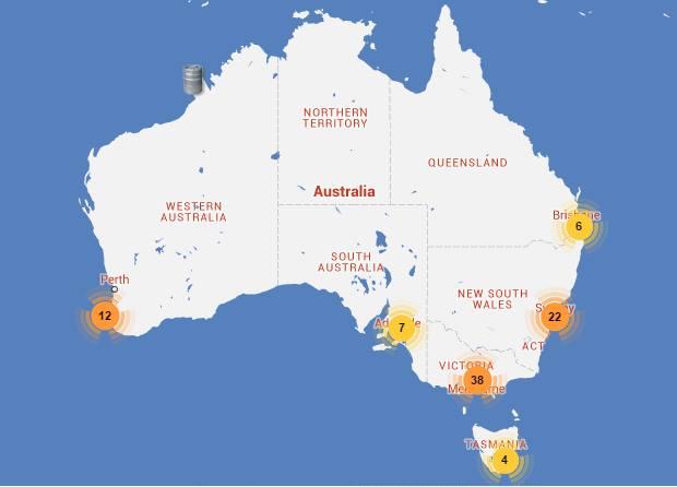 Una mappa parziale ma indicativa della distribuzione dei birrifici craft in Australia