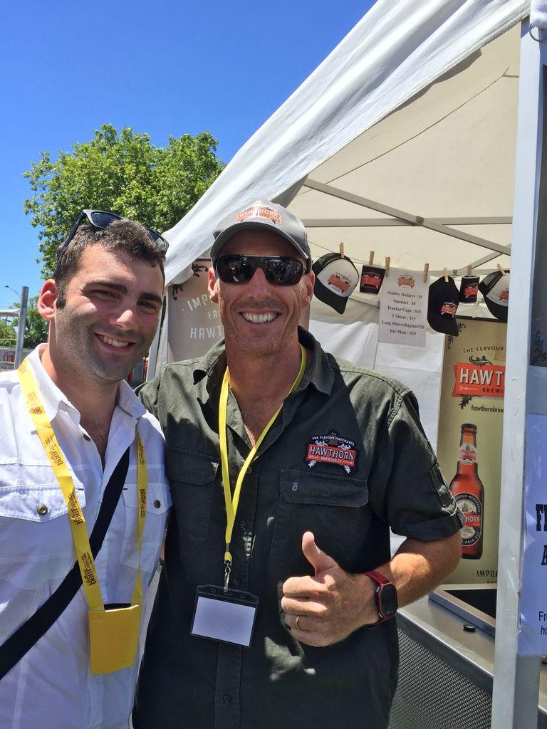 Con il birraio di Hawthorn brewery al Ballarat Beer Festival