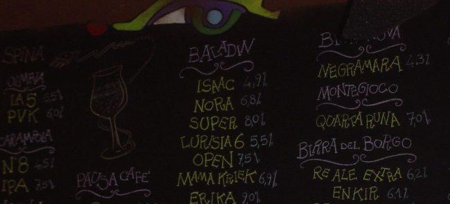 La lista delle birre alla spina