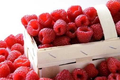 raspberries in a basket